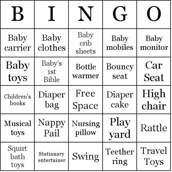 baby shower gifts bingo cards word list