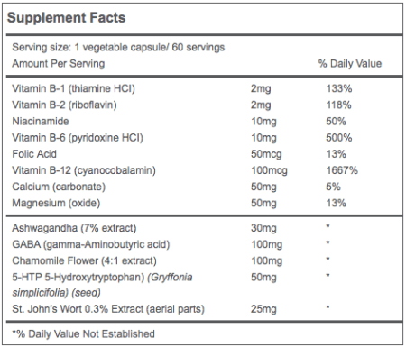 Mood Support Supplement Facts