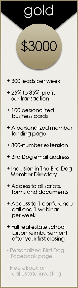 Gold Membership - The Bird Dog Real Estate Investment and Short Sale Program with The Short Sale Gal Kristine Zelazo
