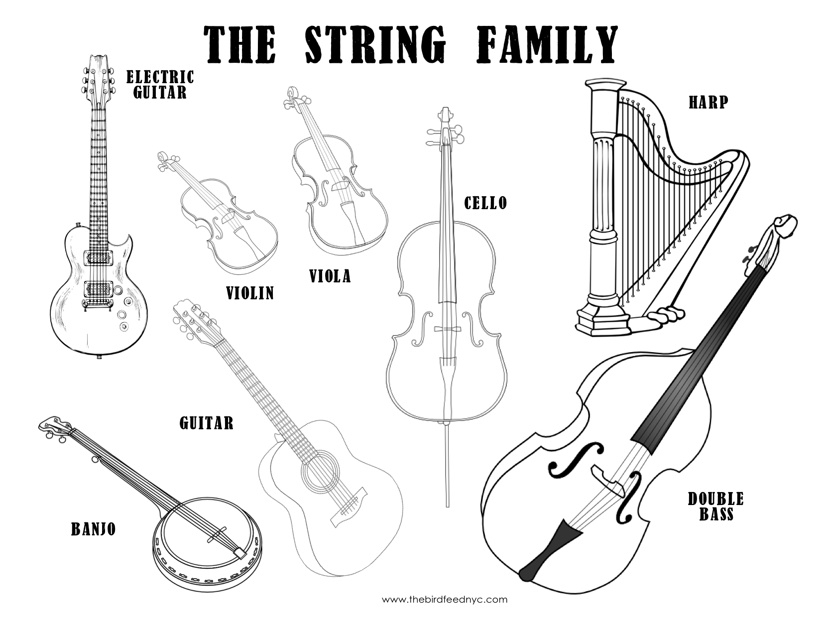 Musical Instruments Coloring Sheet
