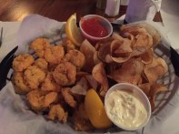 Shrimp basket with homemade chips at The Flying Harpoon.