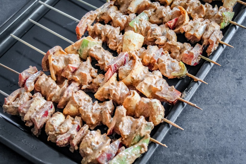chicken on skewers