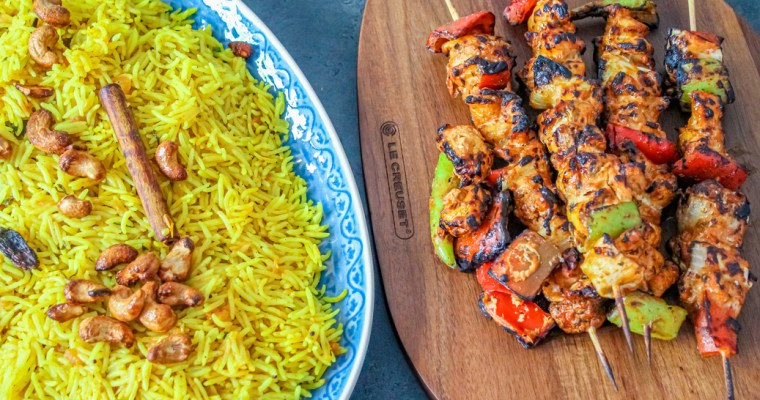 Middle Eastern Chicken Skewers with Spiced Rice