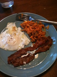 Fried Egg, Bacon and Sweet Potato Hash