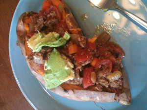 baked sweet potato & chili