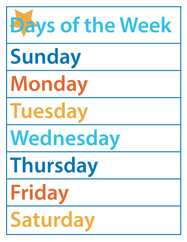 picture relating to Printable Days of the Week identify Times of the 7 days Totally free Printable The B Retains Us Trustworthy