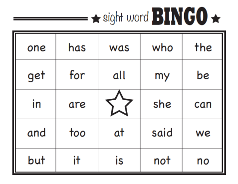 Sight Word Bingo Printable