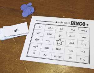 Sight Word Bingo Game
