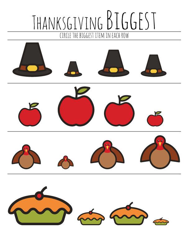 Free Preschool Thanksgiving Worksheet – The B Keeps Us Honest