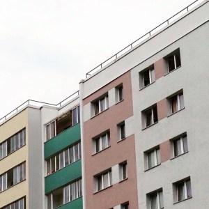 pastel coloured apartment buildings