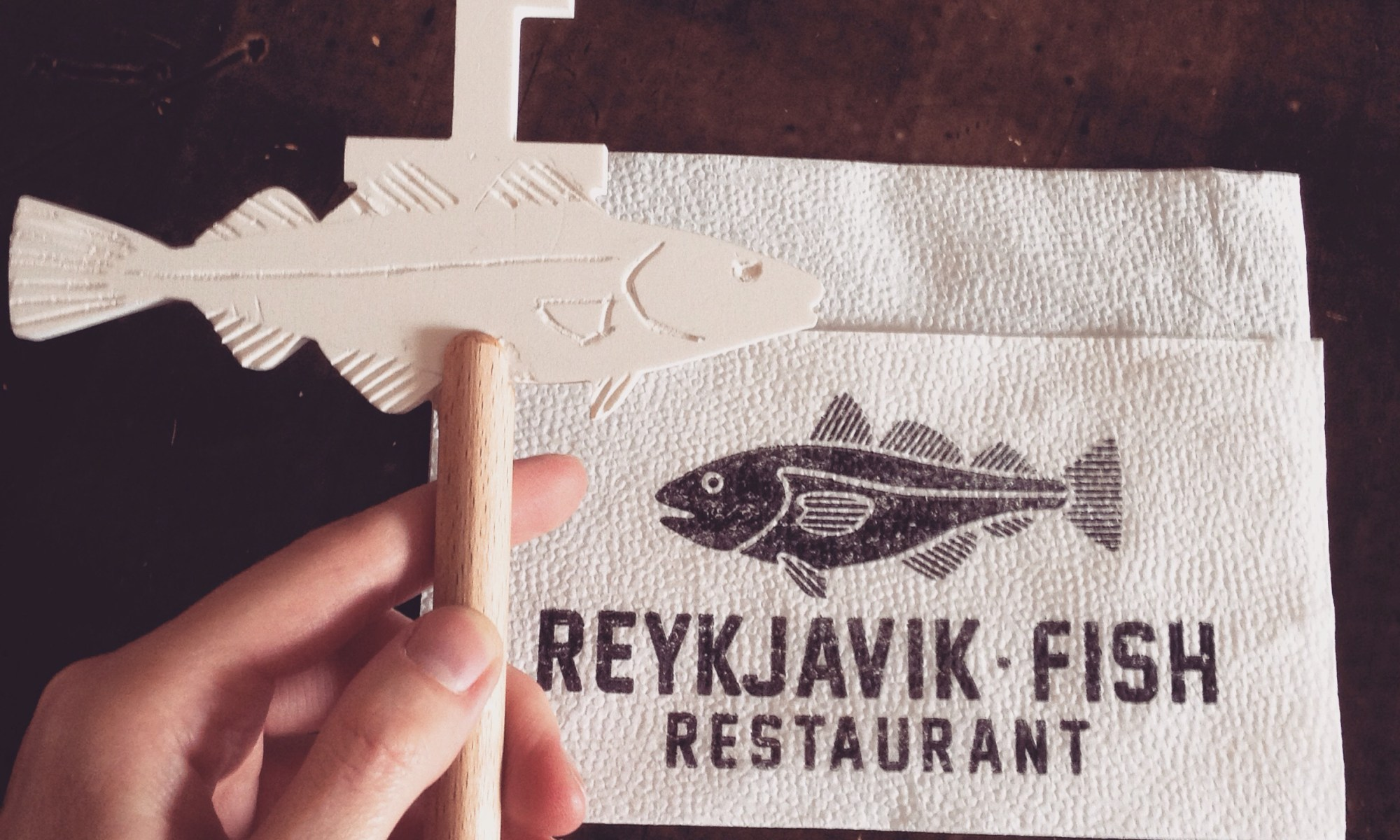 Reykjavik Fish Restaurant napkin and table number in the shape of a fish