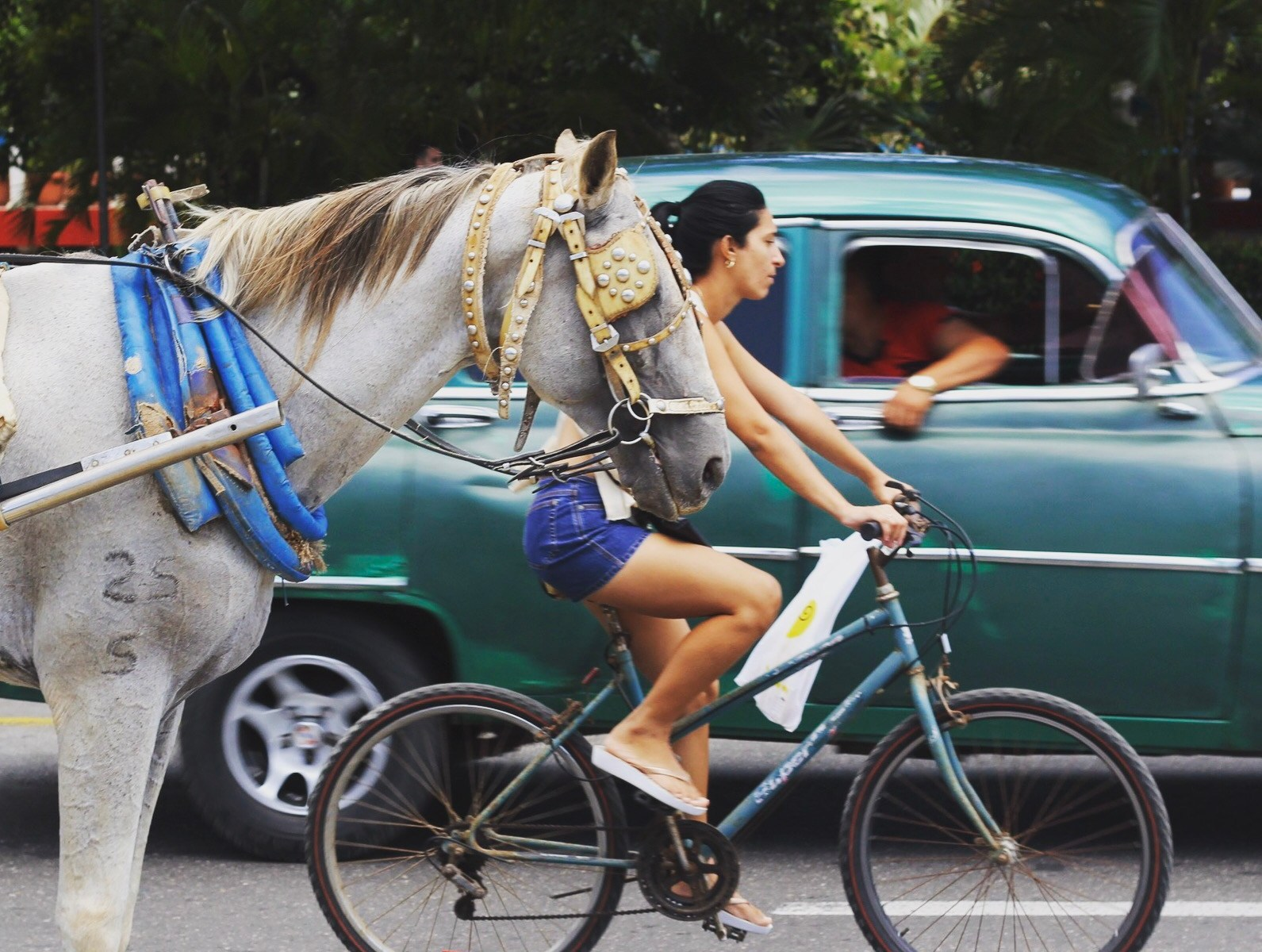 Photo of a cyclist, a horse, and a vintage car driving by on the street