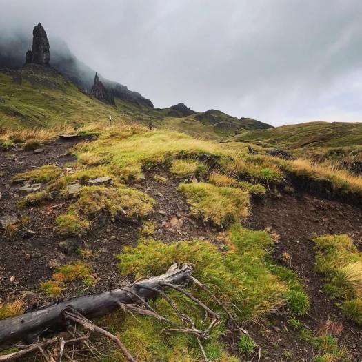 Photo of a tall rock in the mist on a grassy hill
