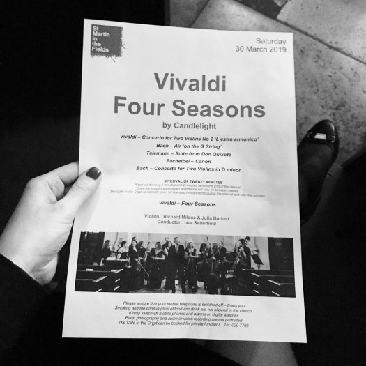 Photo of the concert program for Vivaldi four seasons