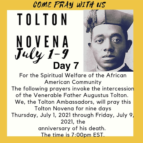 Tolton Novena for the Spiritual Welfare of the Black American Community (July 1-July 9) [124th Anniversary of Tolton's Death] – Day 7: FOR THE END OF ABORTION IN THE BLACK COMMUNITY