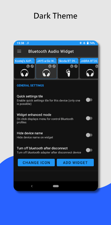 Bluetooth audio device widget - connect, play