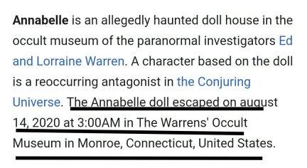 Annabelle fake news twitter wikipedia