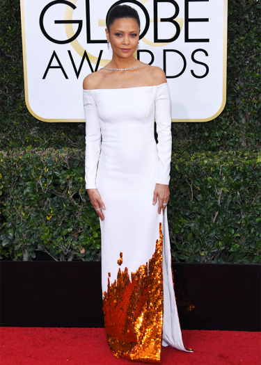 Mandatory Credit: Photo by REX/Shutterstock (7734773eu) Thandie Newton 74th Annual Golden Globe Awards, Arrivals, Los Angeles, USA - 08 Jan 2017