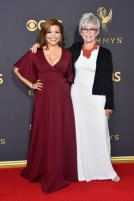 LOS ANGELES, CA - SEPTEMBER 17: Actors Justina Machado (L) and Rita Moreno attend the 69th Annual Primetime Emmy Awards at Microsoft Theater on September 17, 2017 in Los Angeles, California. (Photo by Frazer Harrison/Getty Images)