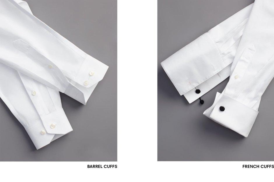 Types of tuxedo shirt cuffs.