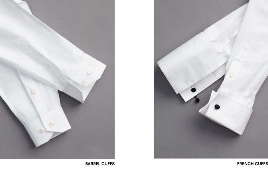 Types of tuxedo shirt cuffs.