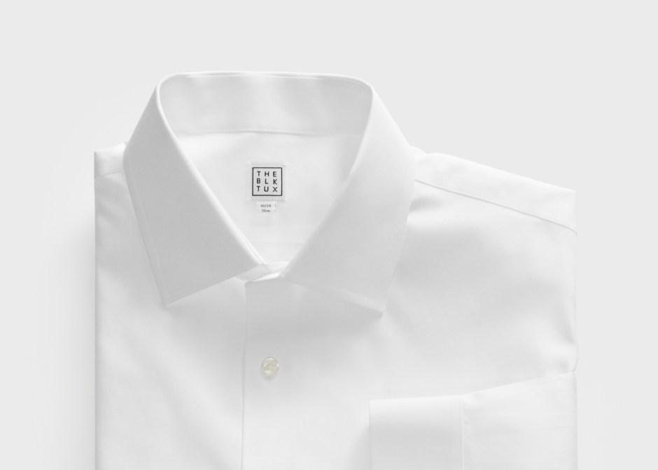 Spread collar tuxedo shirt