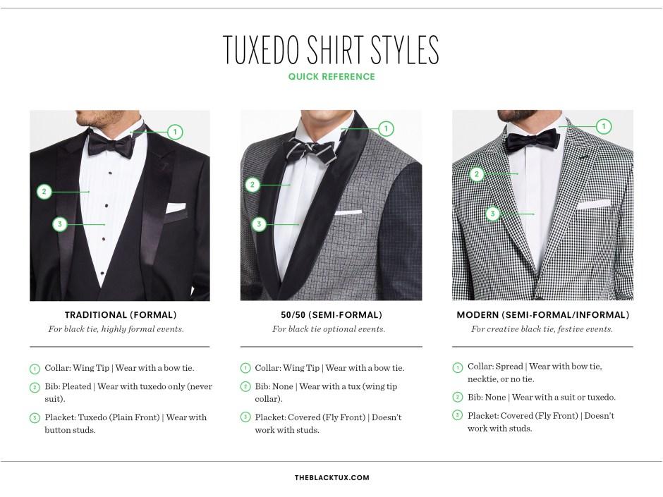 Tuxedo shirt styles infographic.