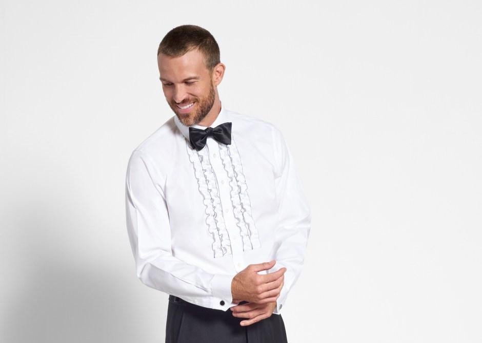 Ruffled tuxedo shirt bib