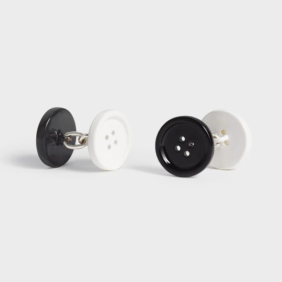 Black and white enamel cufflinks by The Black Tux.