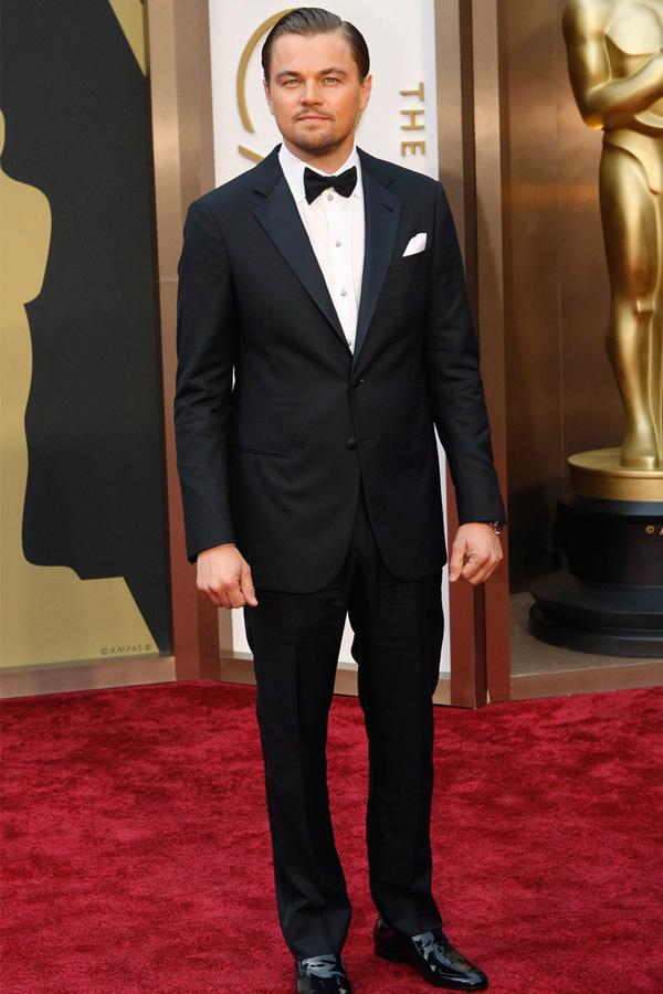 Leonardo DiCaprio in a notch lapel prom tuxedo.