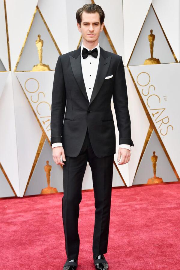 Andrew Garfield in a peak lapel prom tuxedo.