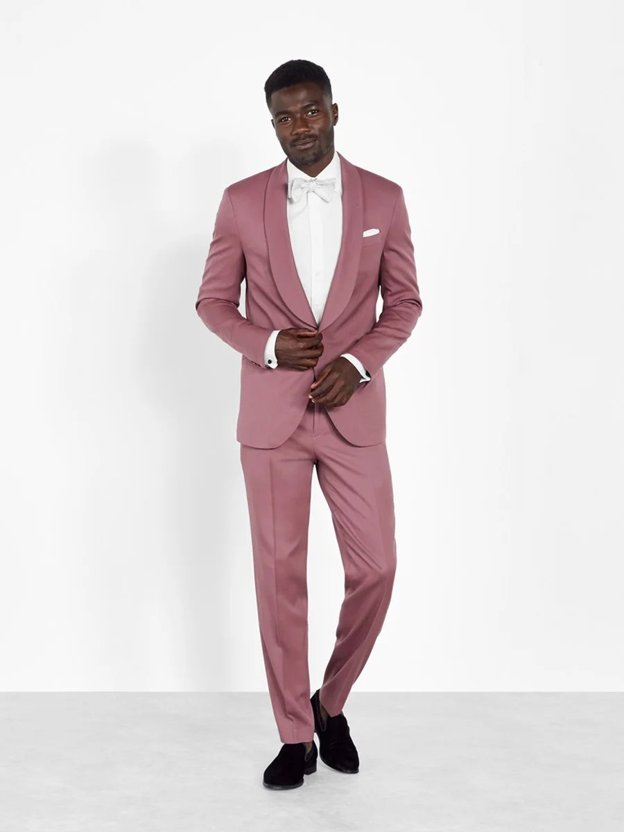 A rose shawl tuxedo is one of many colorful prom tux ideas we offer.