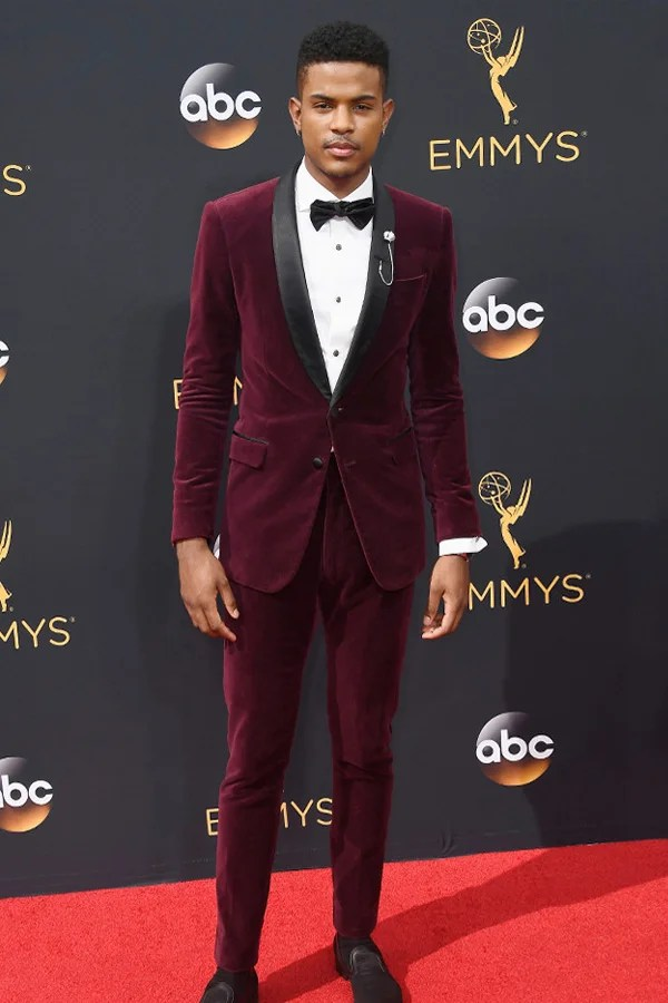 Trevor Jackson in a ruby velvet prom tuxedo.