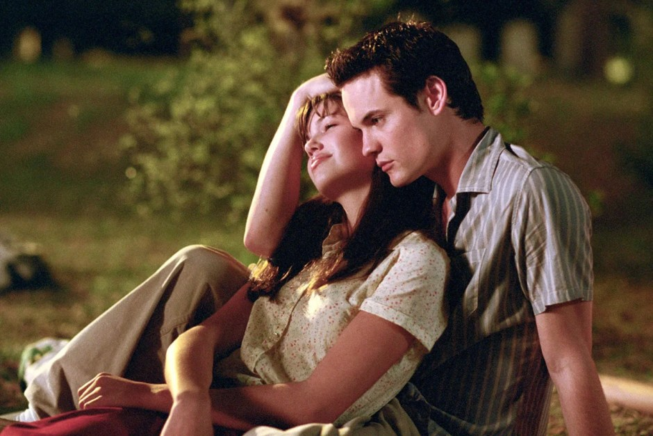 Mandy Moore gets cuddled in A Walk to Remember.