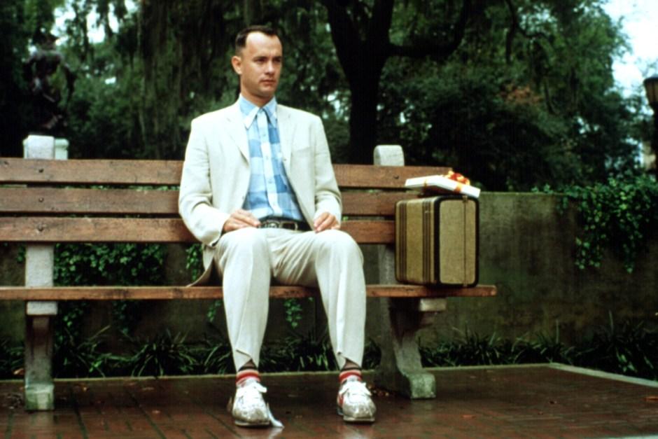 Tom Hanks sits on a bench in Forrest Gump.