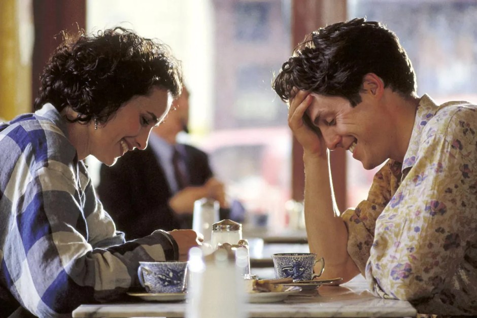 Hugh Grant is embarrassed drinking tea in Four Weddings and a Funeral.