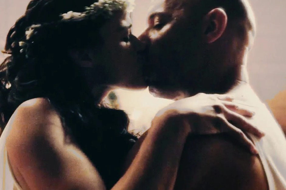 Furious 7 wedding scene kiss.