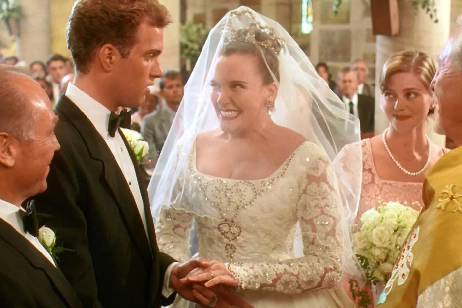 Toni Collette in bridal gown for Muriel's Wedding.