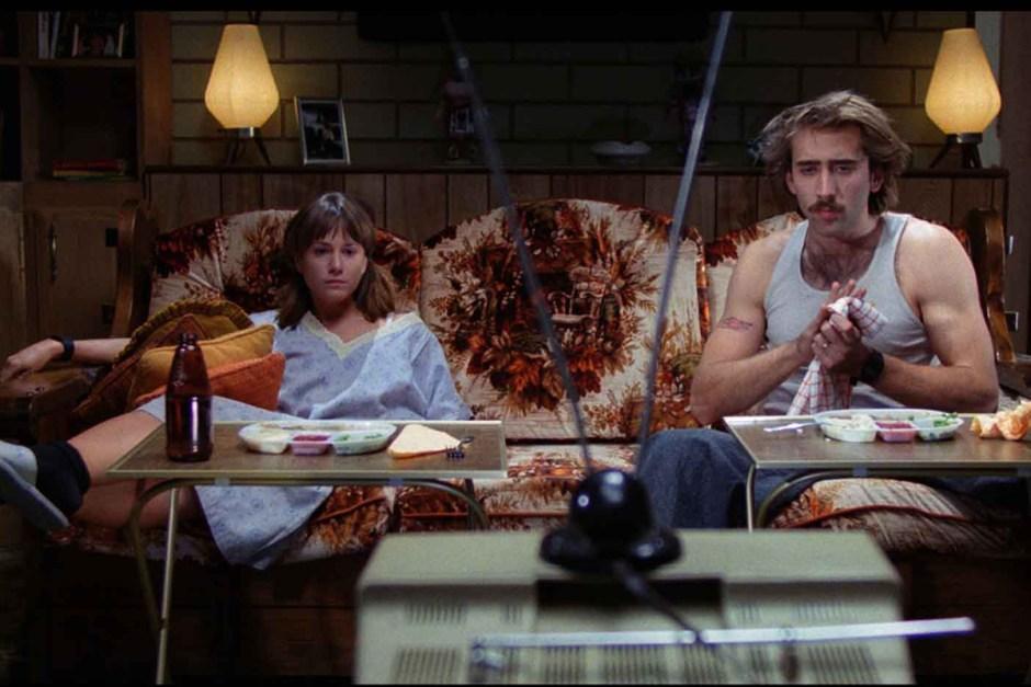 Nicolas Cage watching TV in Raising Arizona.