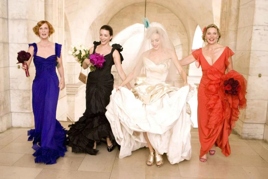 The four ladies at Carrie's wedding in Sex and the City 2.