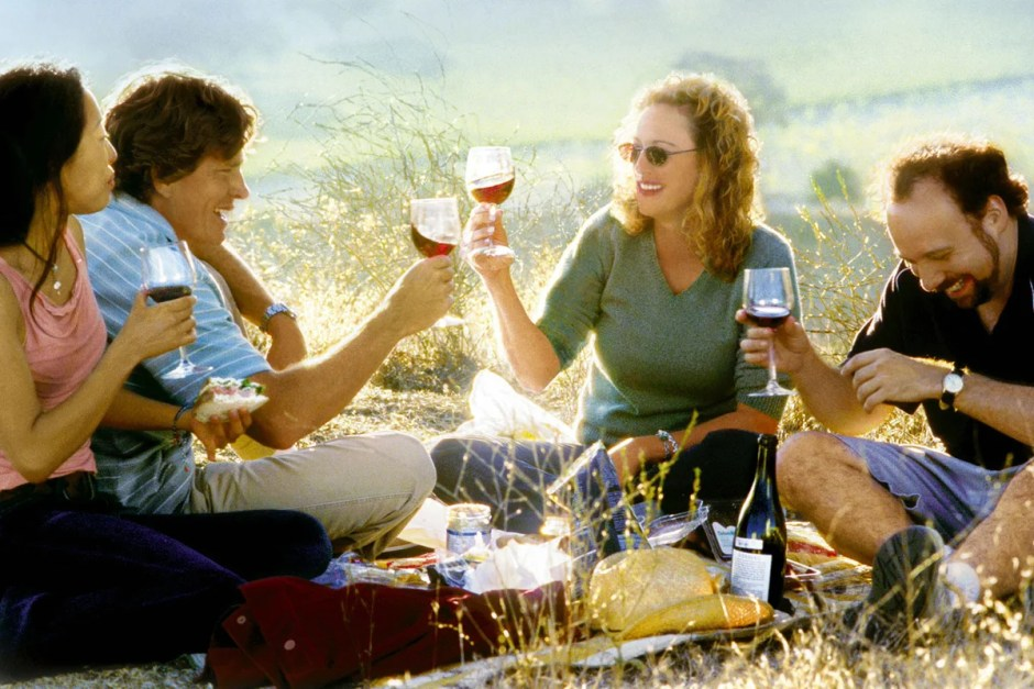Group wine drinking in Sideways.