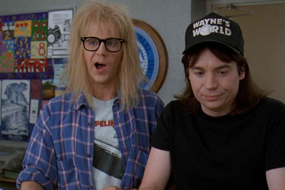 Wayne Campbell and Garth in Wayne's World 2.