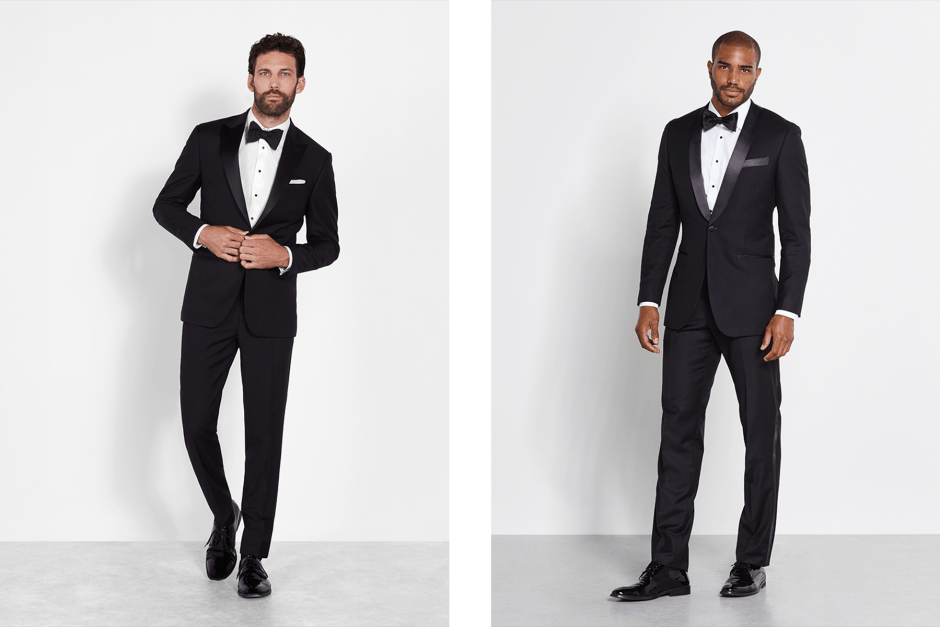 Black peak lapel tuxedo and black shawl collar tuxedo.