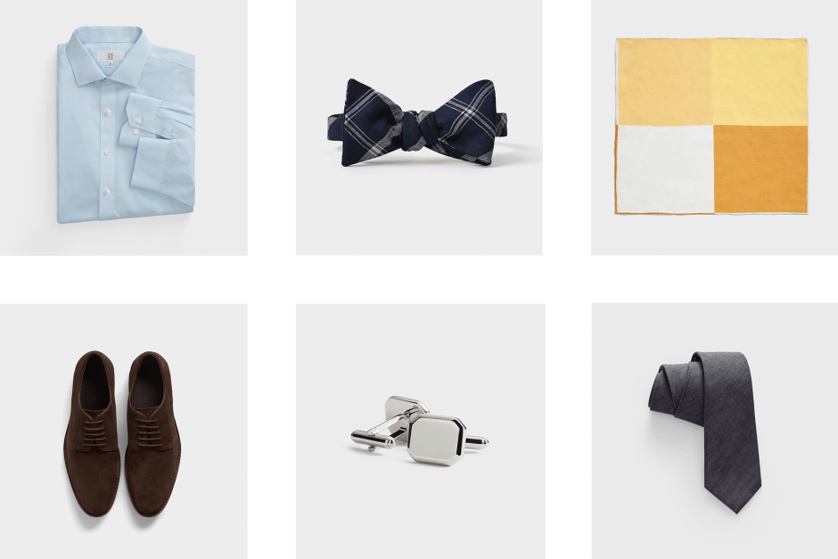 Recommended accessories for a blue men's wedding suit.