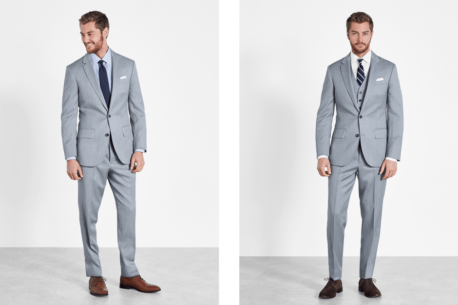 Light grey men's wedding suits by The Black Tux.