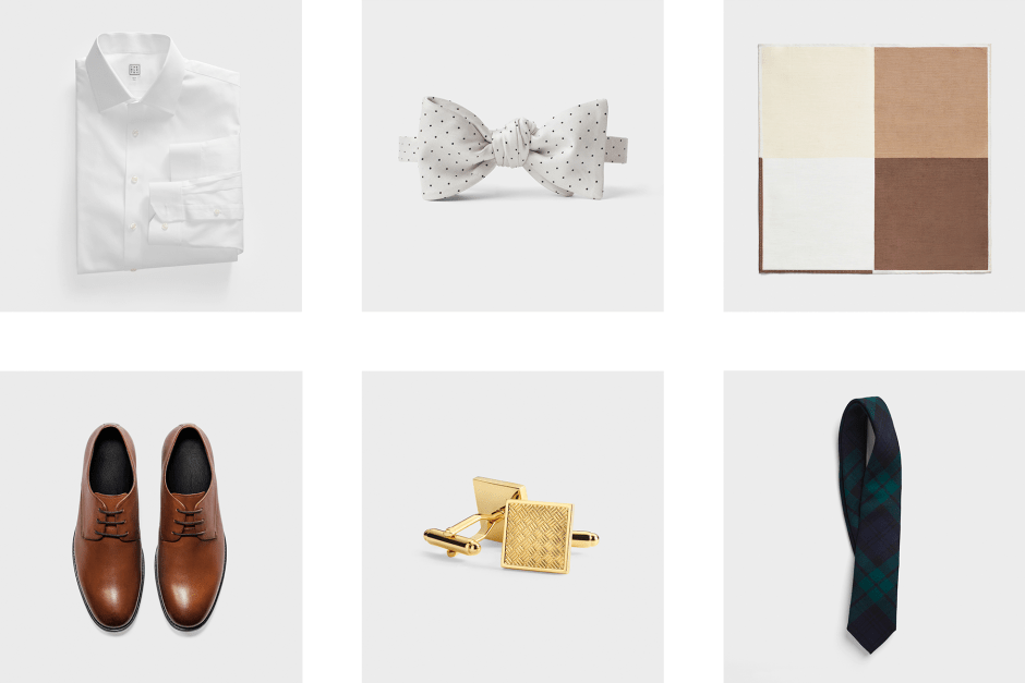 Recommended accessories for a navy wedding suit.
