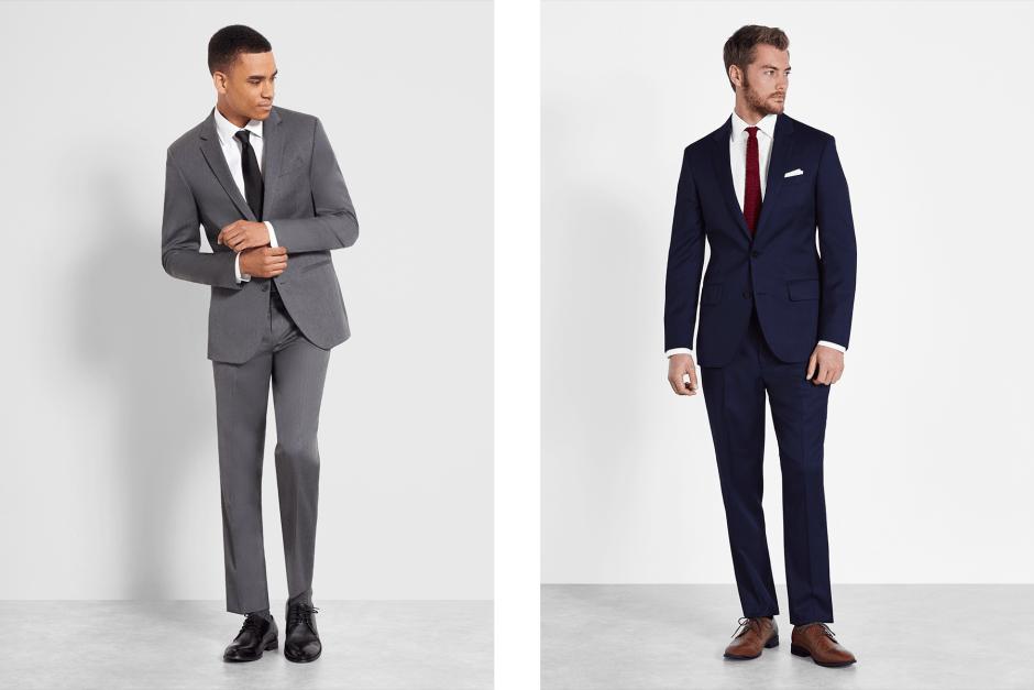 Grey suit and Blue suit rentals for groomsmen.