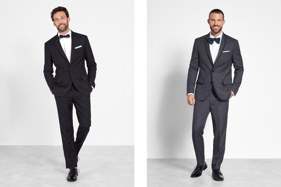 Simple grey and black tuxedos.