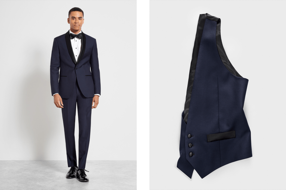Midnight blue shawl collar tuxedo with vest.
