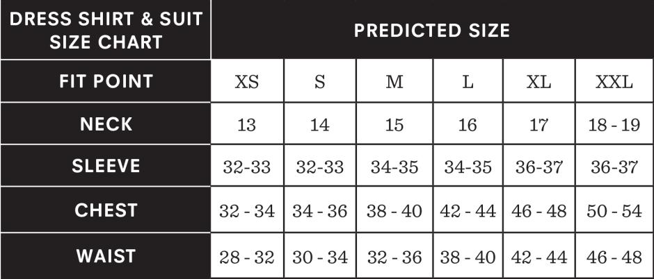 Suit size chart and dress shirt size chart.